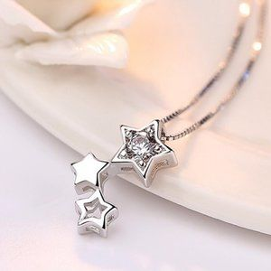 Jewelry - NEW 925 Sterling Silver Diamond Star Necklace